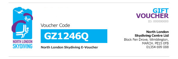 North London Skydiving Sample E-Voucher